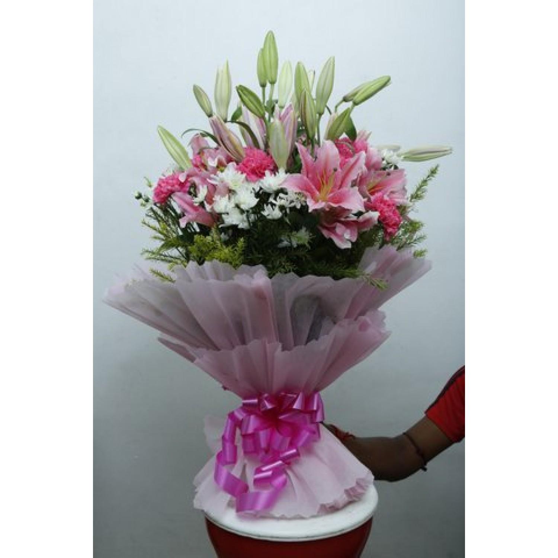 Big Flower Bunch Of 10 Pcs Lilies 10 Pcs Dayzee 10 Pcs